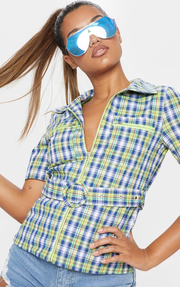 Neon Check Belt Detail Short Sleeve Shirt 5