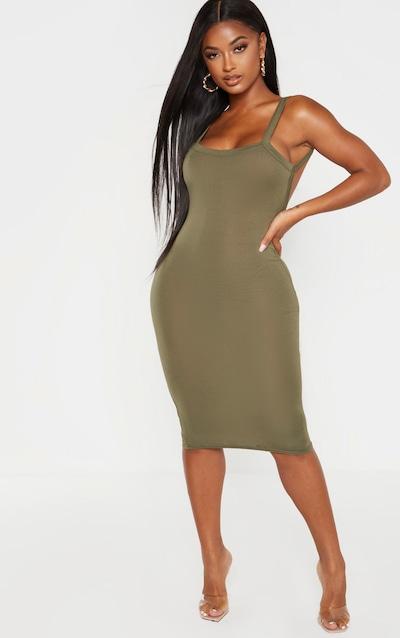 Shape Khaki Jersey Scoop Back Midi Dress