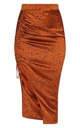 Rust Satin Printed Ruched Side Midi Skirt 3