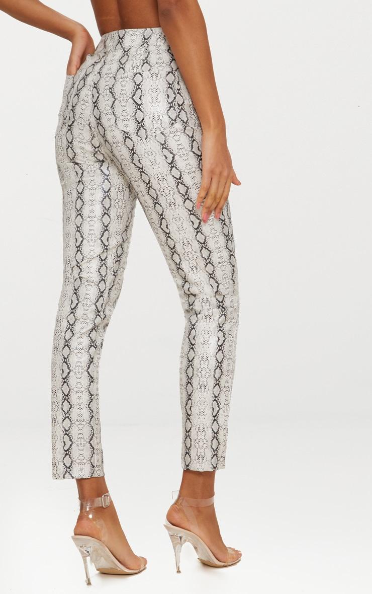 Grey Front Zip Snake Print Trouser  3