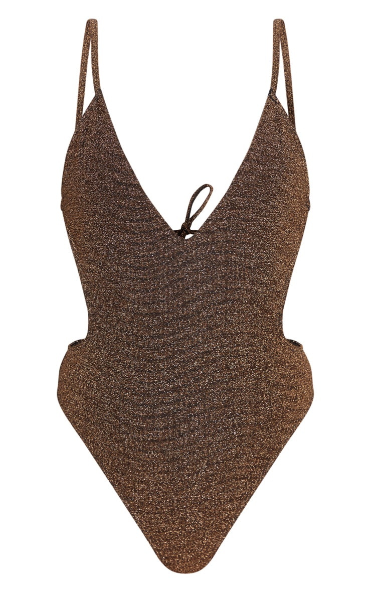 Brown Glitter Cut Out Swimsuit 5