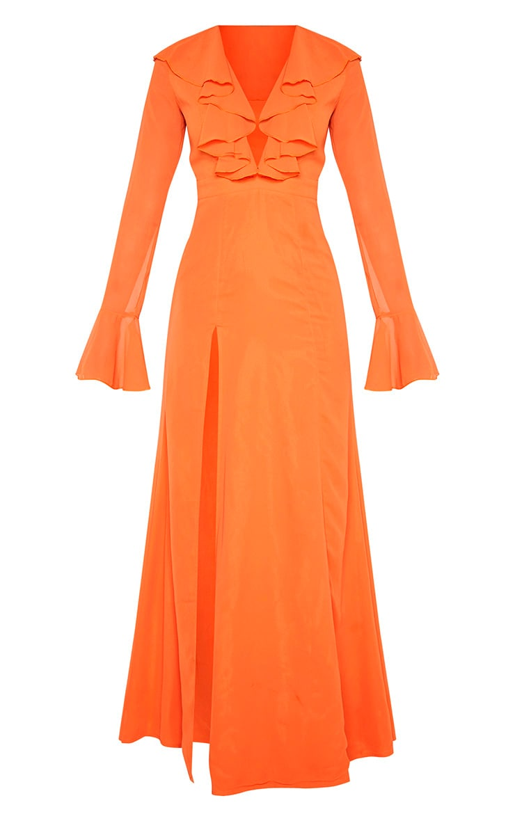 Bright Orange Plunge Frill Maxi Dress 3