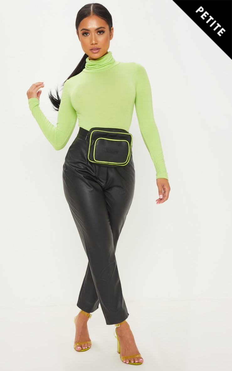 Petite Neon Lime Basic Roll Neck Long Sleeve Bodysuit