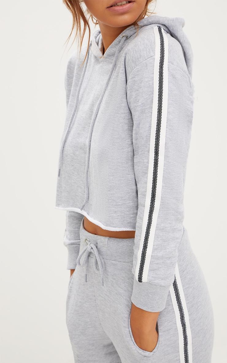 Grey Marl Side Stripe Hoodie 5