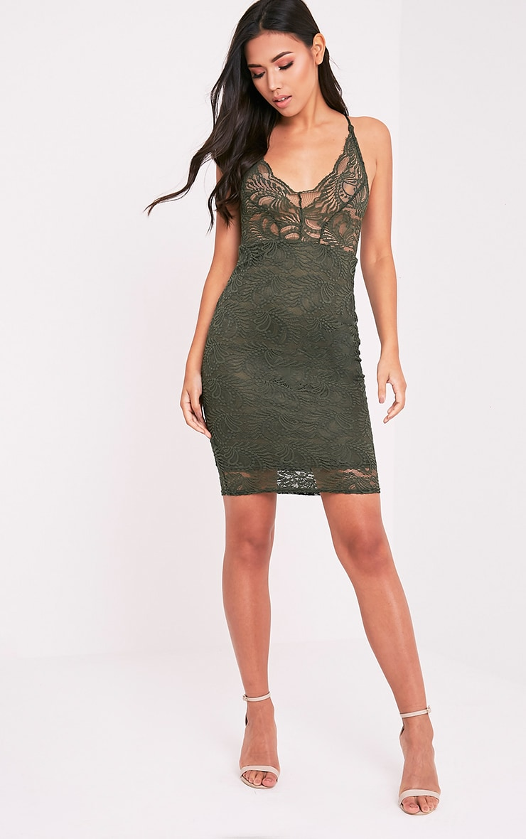 Lucila Khaki Sheer Lace Bodycon Dress 5