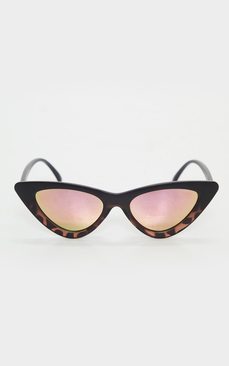 Brown Tortoise Pink Lens Cat Eye Sunglasses 1
