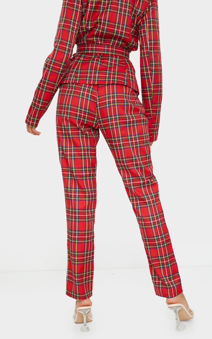 Red Tartan Printed Buckle Belted High Waisted Cigarette Pants 3