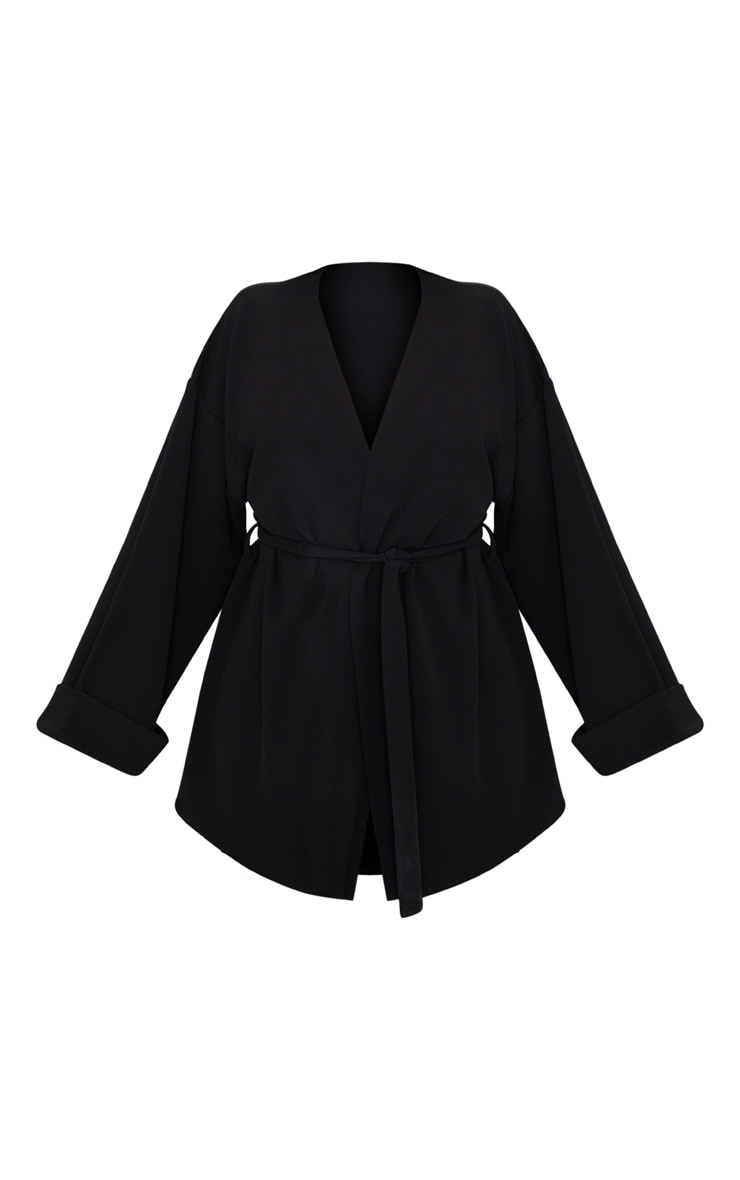 Plus Black Belted Oversized Sleeve Blazer 3