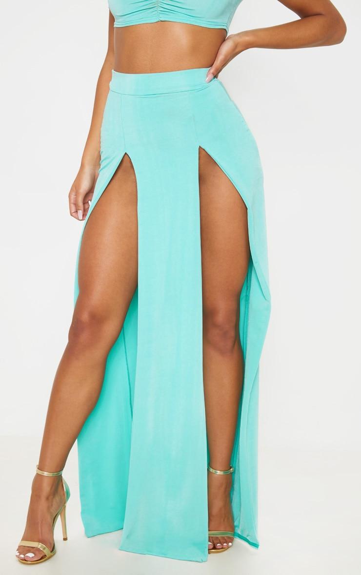 Light Blue Slinky Double Split Leg Maxi Skirt 2