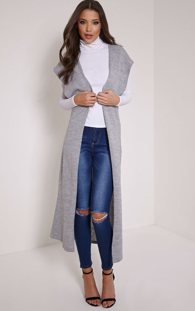 Talcia Grey Knitted Longline Cardigan 1