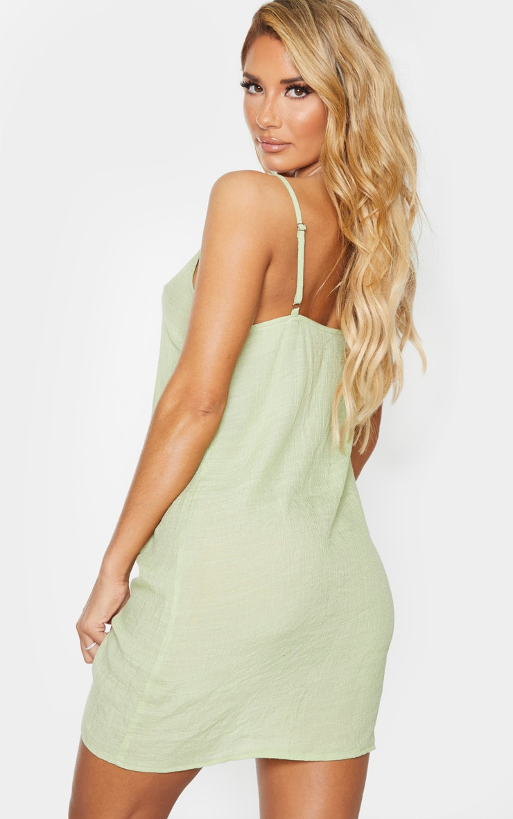 Sage Green Linen Look Strappy Cami Beach Dress 2