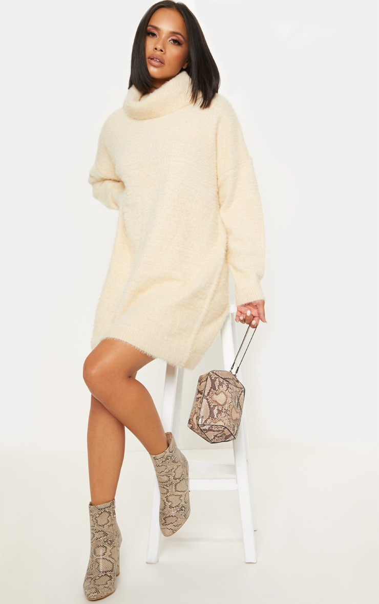 Cream Knitted High Neck Jumper Dress 4