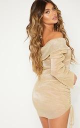 Gold Metallic Plisse Bardot Ruched Bodycon Dress 2