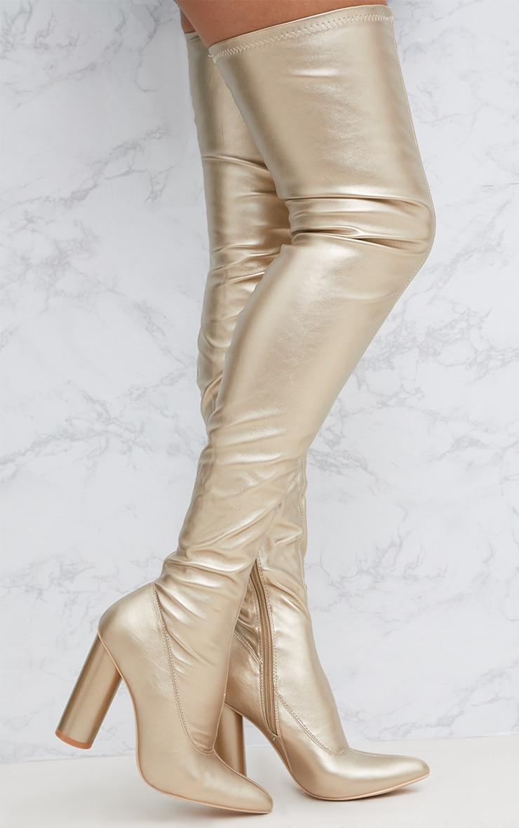 Gold PU Thigh Boot 1