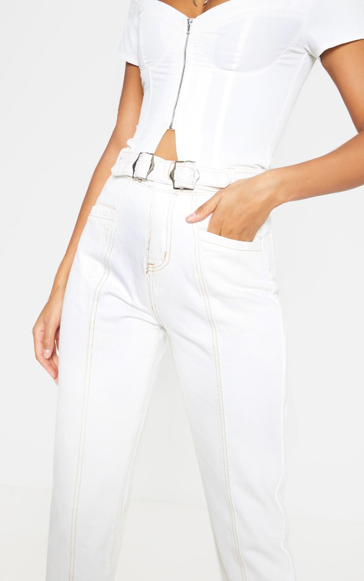 Ecru With Contrast Stitch Belted Straight Leg Cropped Jeans 5