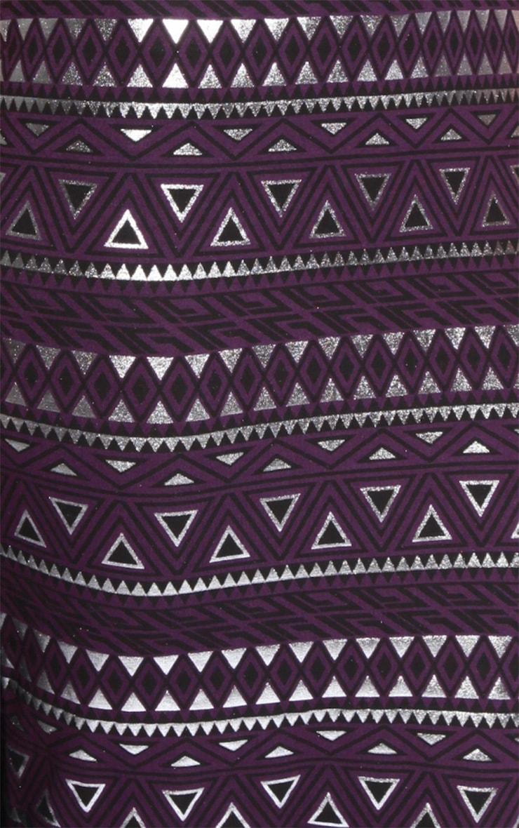 Nadia Purple Aztec Cap Sleeve Midi Dress 5