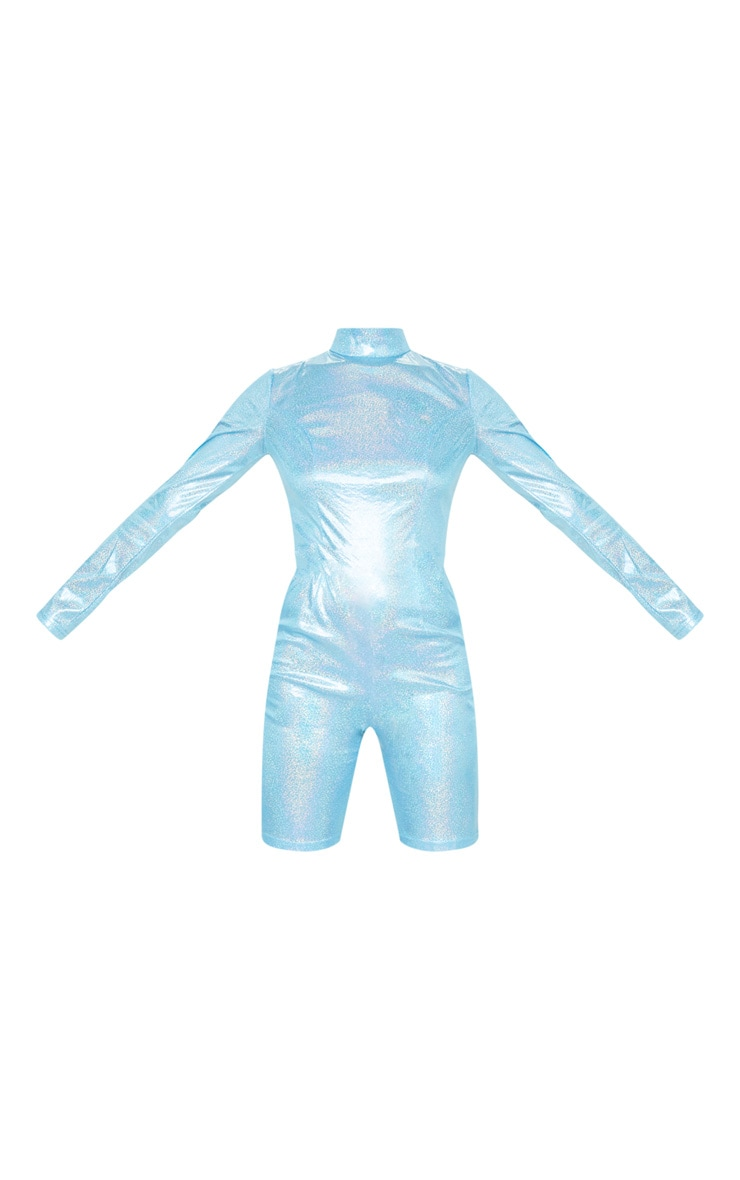 Blue Holographic High Neck Long Sleeve Unitard 5