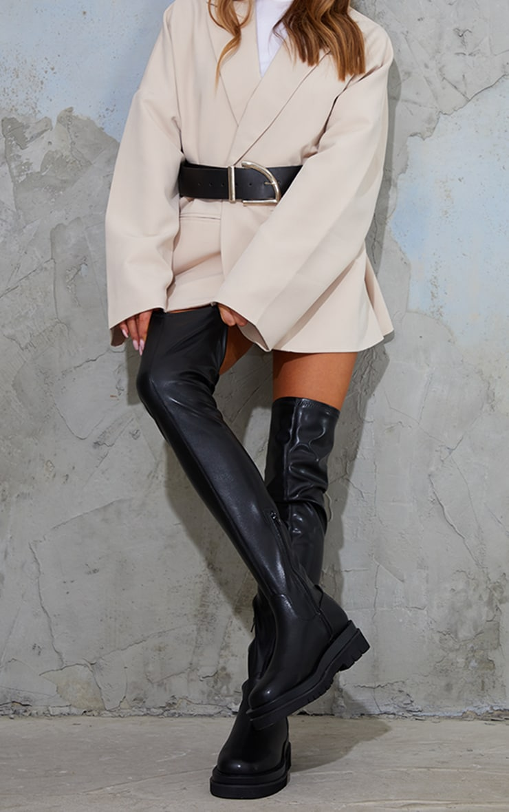 Black Double Sole Over The Knee Boots 2