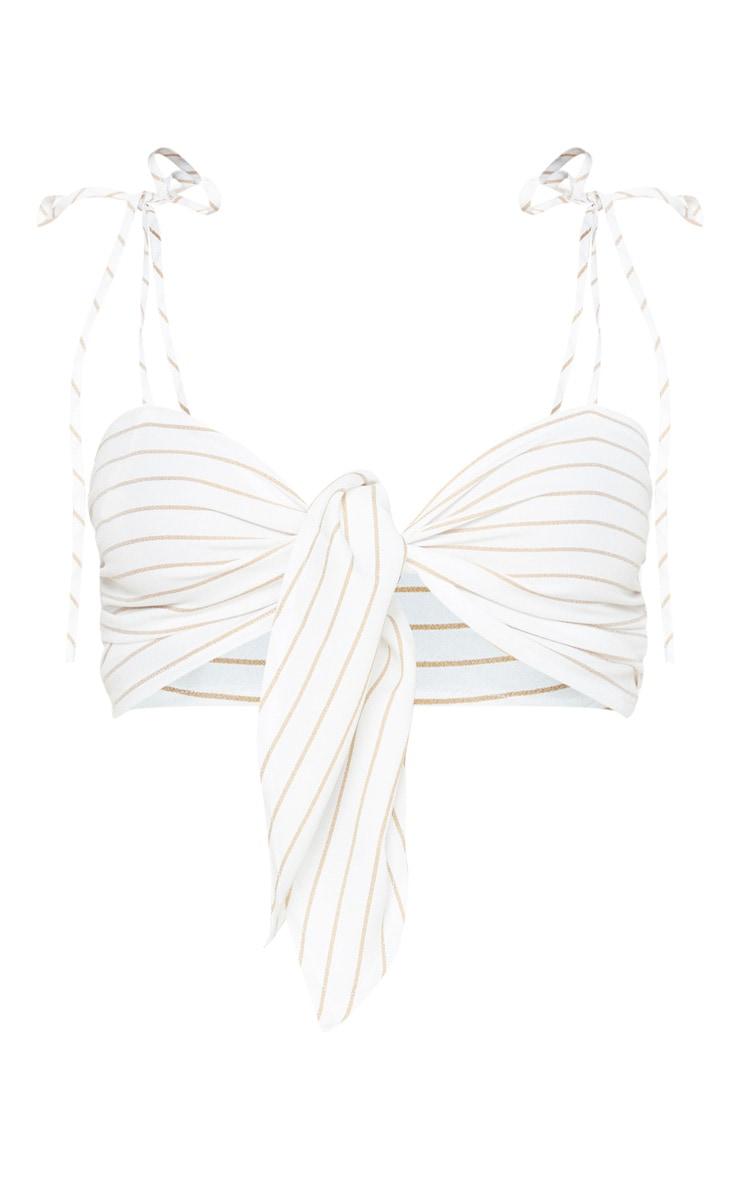 White Stripe Tie Front Cami Crop Top 3