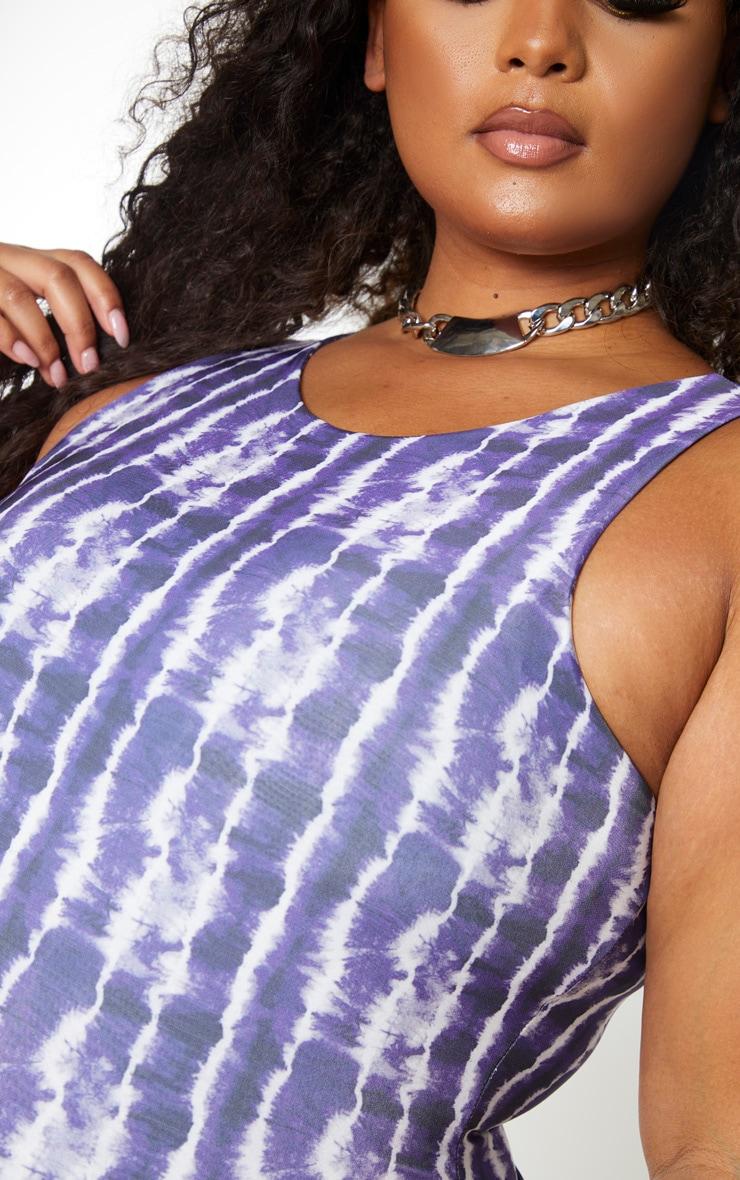 Plus Purple Tie Dye Sleeveless Slinky Bodysuit 4