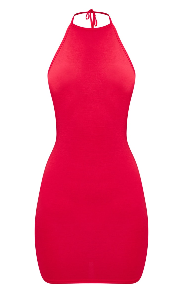 Basic Red Halterneck Bodycon Dress 3