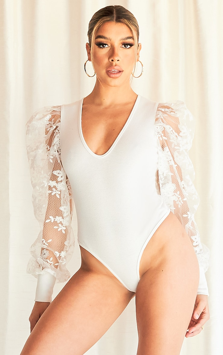 White Blush Floral Embroidered Puff Sleeve Rib Plunge Bodysuit 2