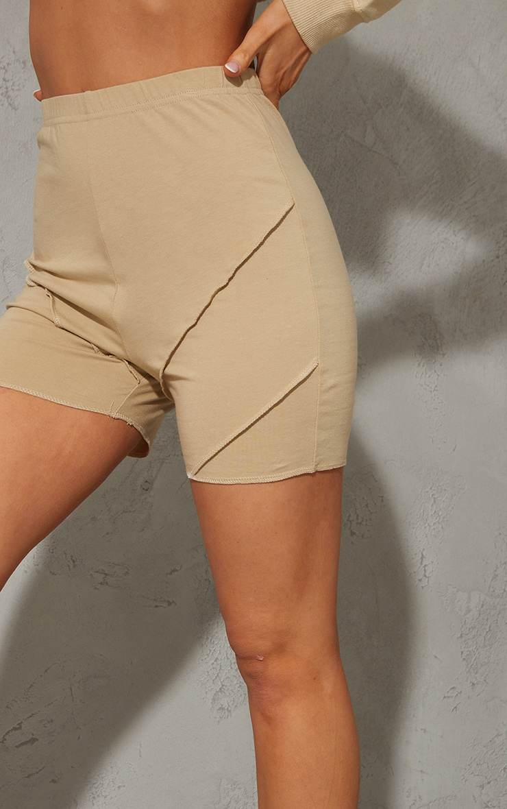 Latte Exposed Seam Cotton Hot Pants 5