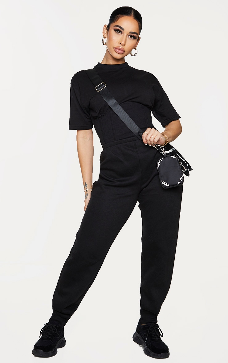 Shape Black Corset Detail Short Sleeve Sweat Jumpsuit 1