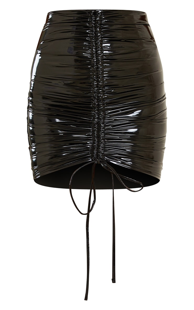 Black Vinyl Ruched Front Mini Skirt 6