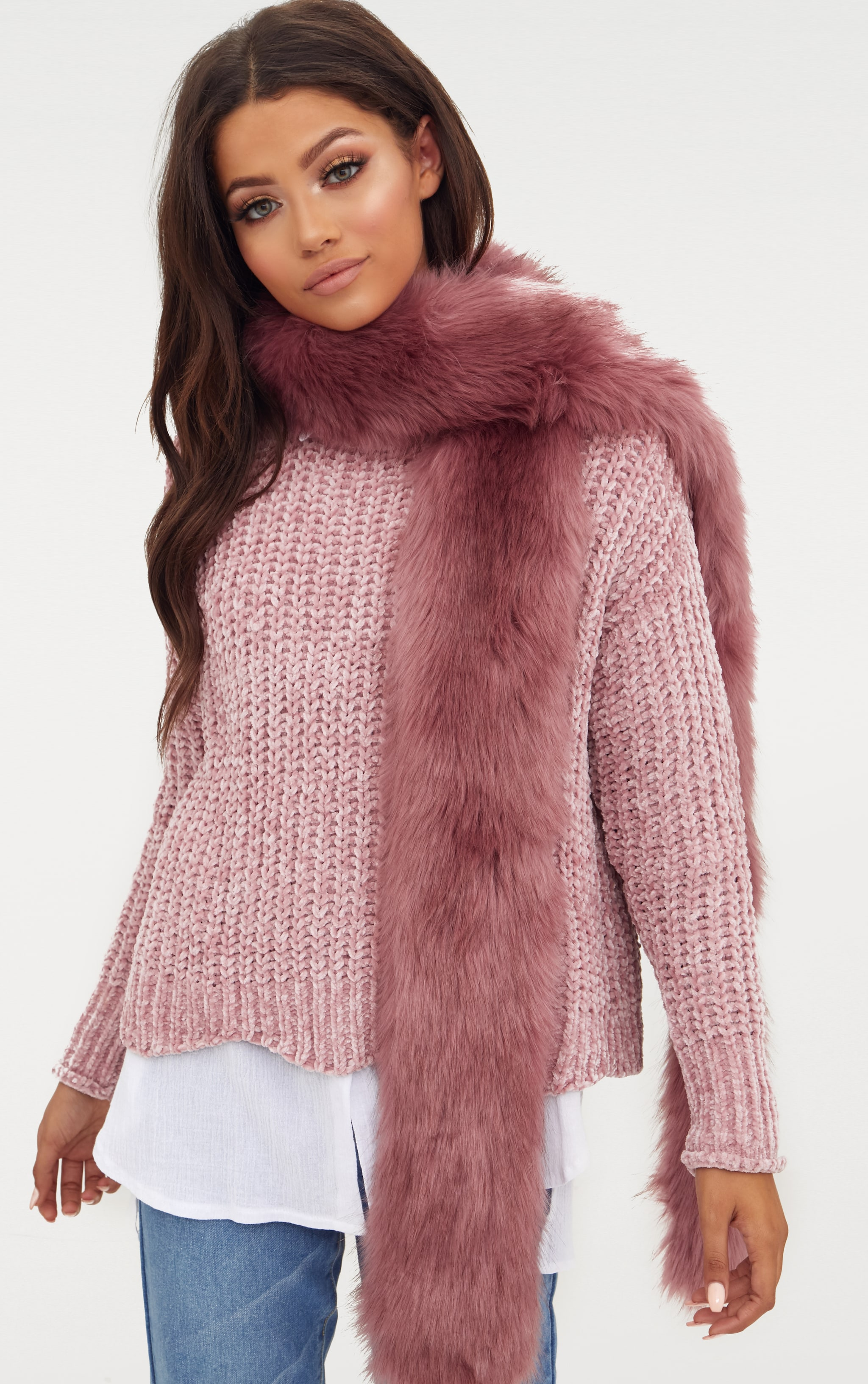 Pink Faux Fur Extra Long Scarf 1