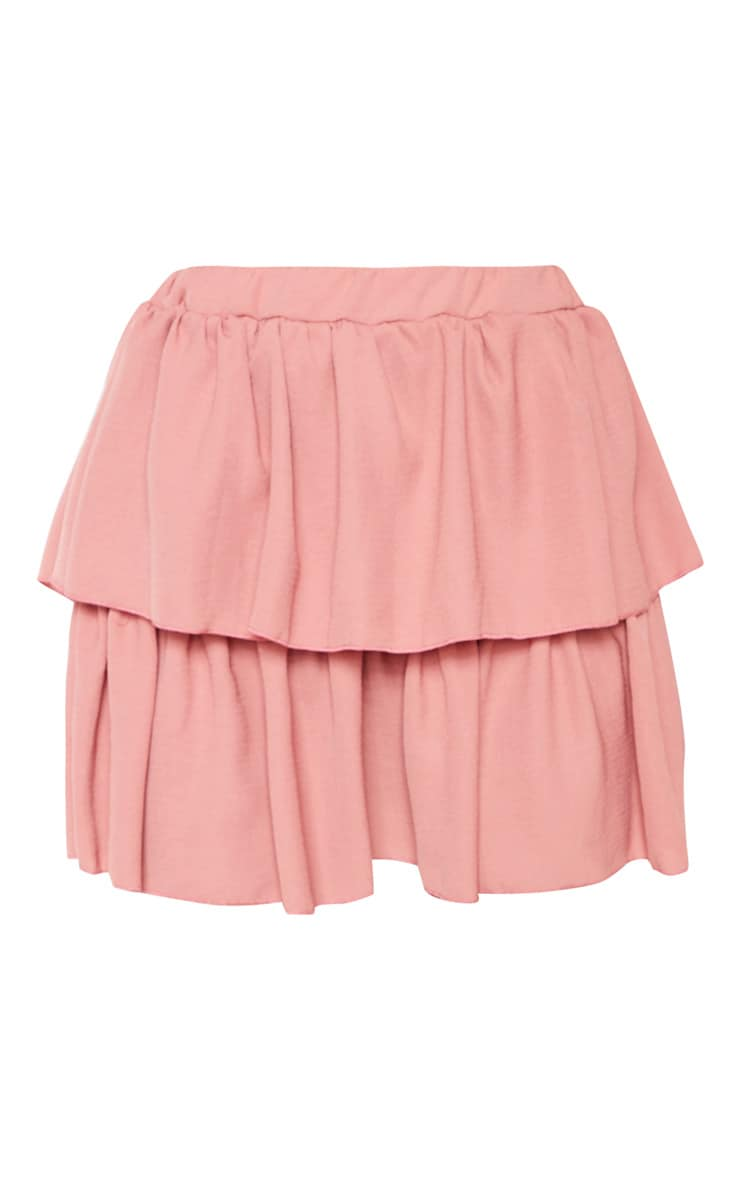Dusty Pink Woven Frill Tiered Mini Skirt 3