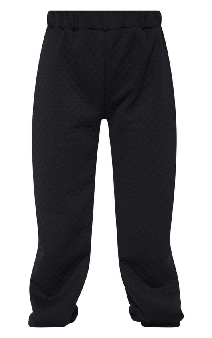 Petite Black Oversized Quilted Track Pants 5