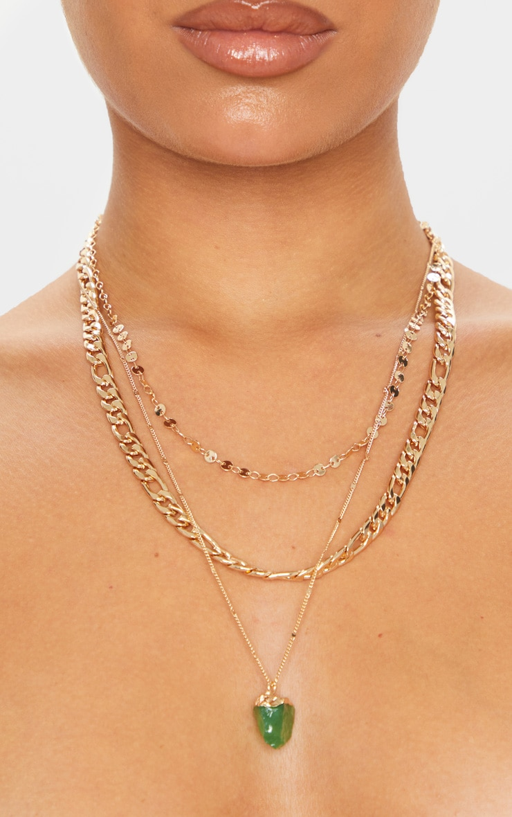 Gold Chain Crystal Layering Necklace 2
