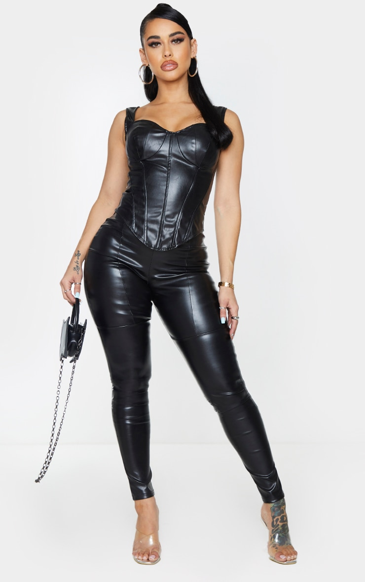 Shape Black Faux Leather Corset Top 3