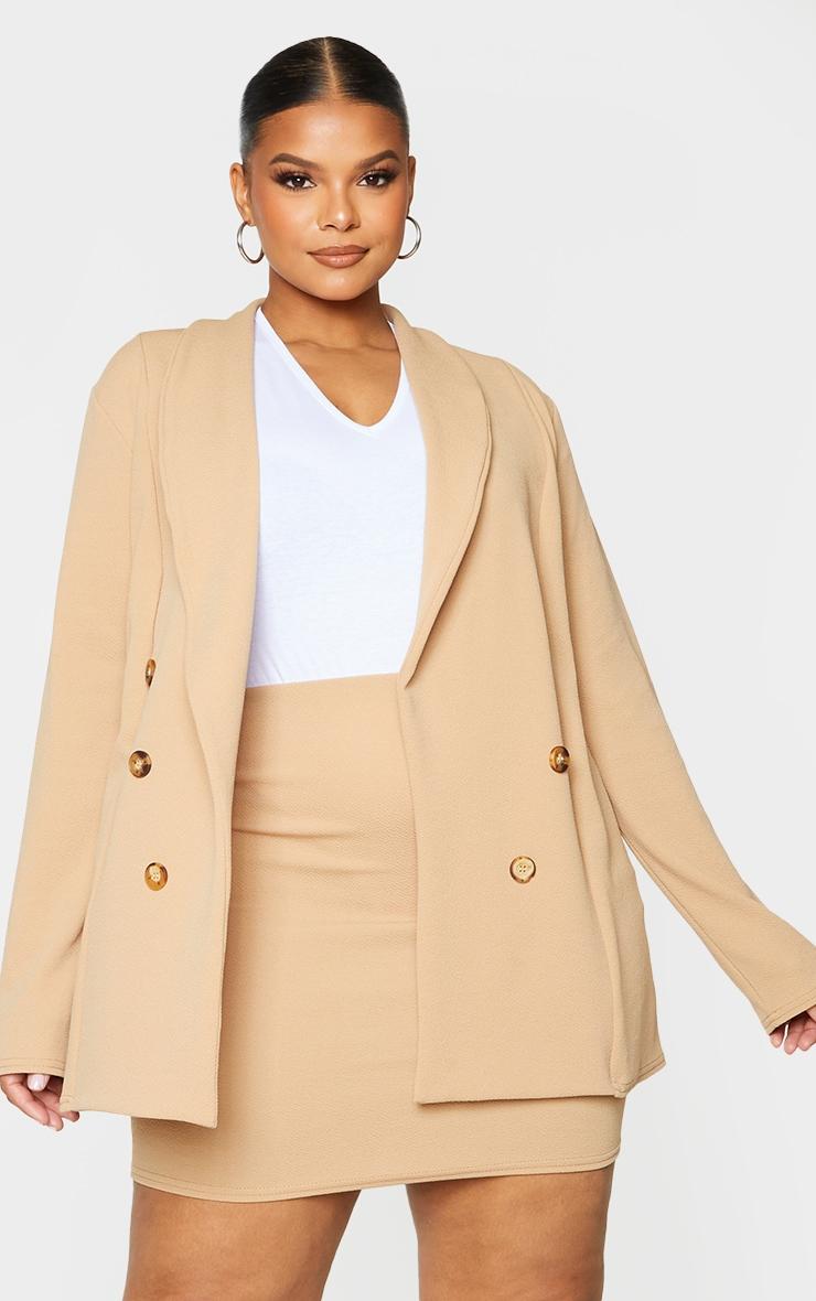 Plus Camel Oversized Button Detail Blazer 1