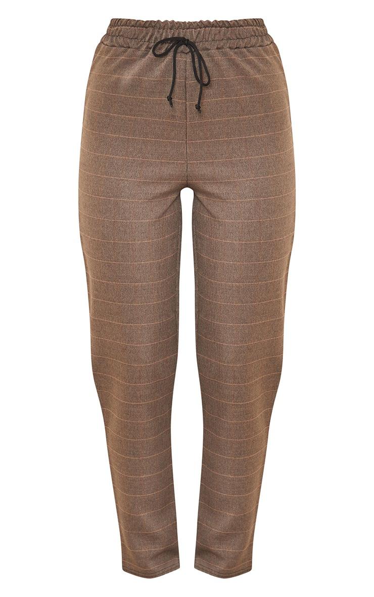 Brown Check Woven Cigarette Trousers 5