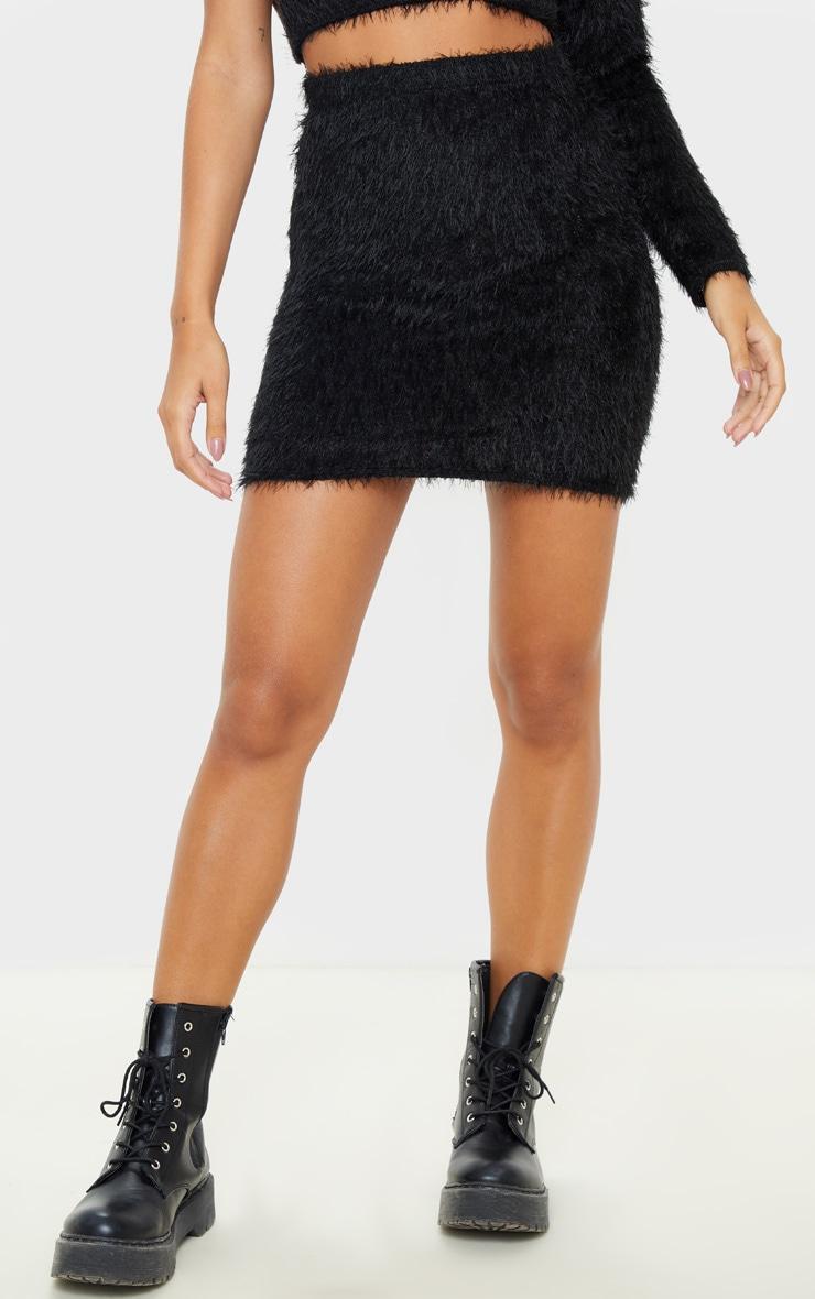 Black Eyelash Bodycon Mini Skirt 2