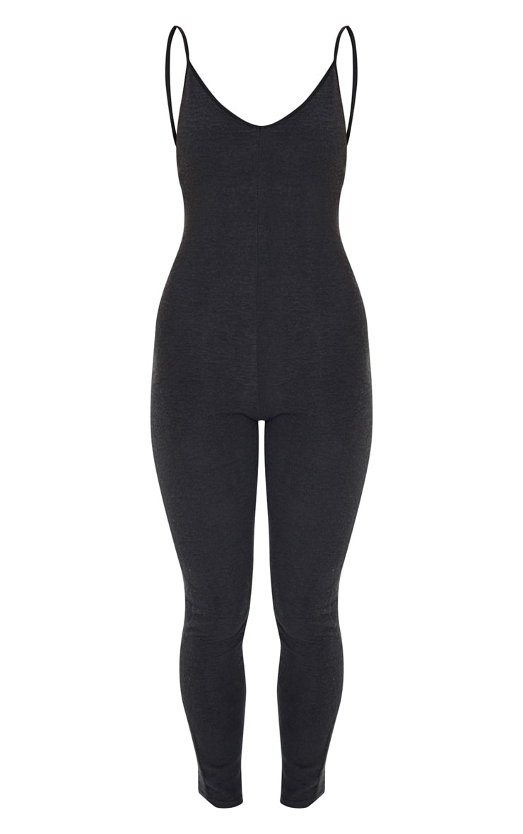 Black Soft Fleece Strappy Plunge Jumpsuit 5