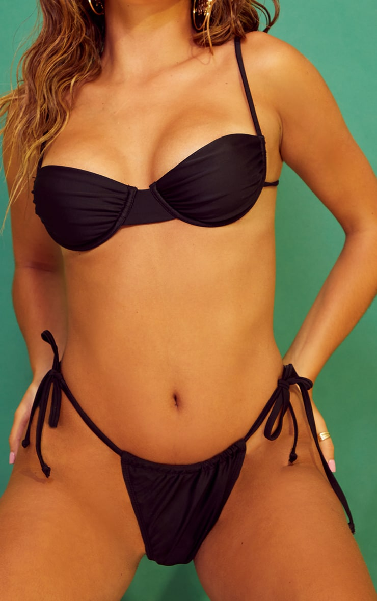 Recycled Mix & Match Black String Thong Bikini Bottoms 4