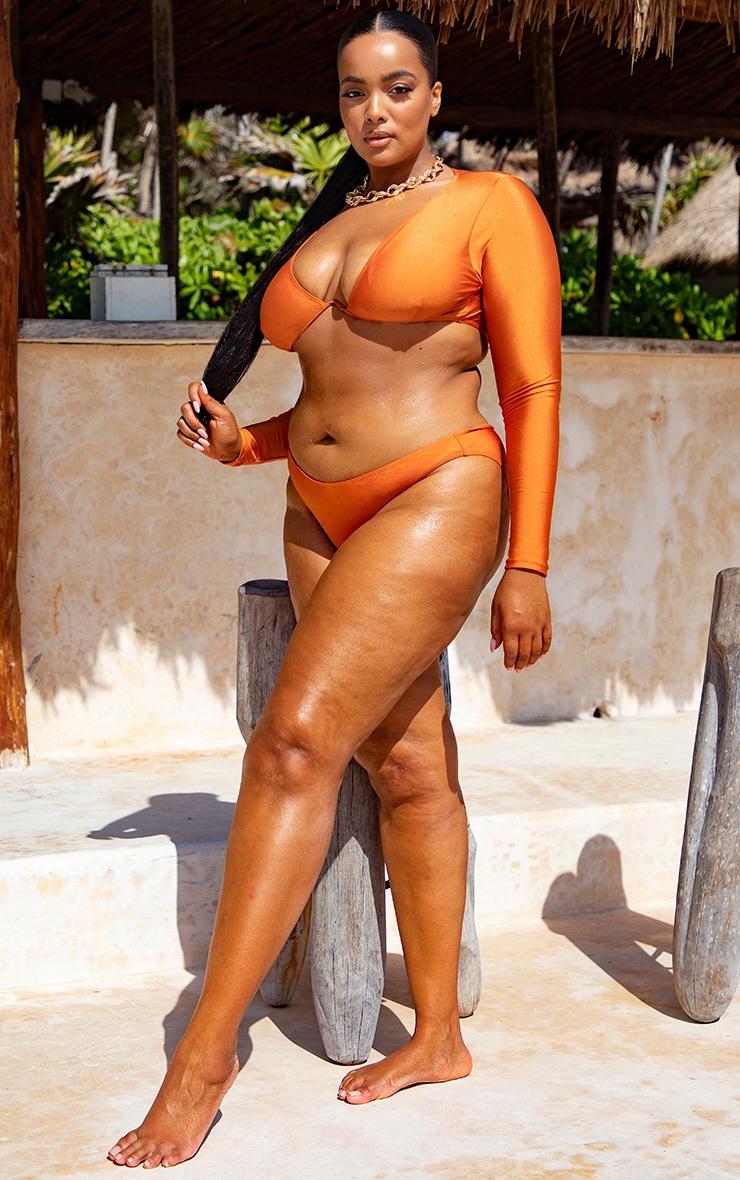 Plus Orange Cheeky Bum Bikini Bottoms  1