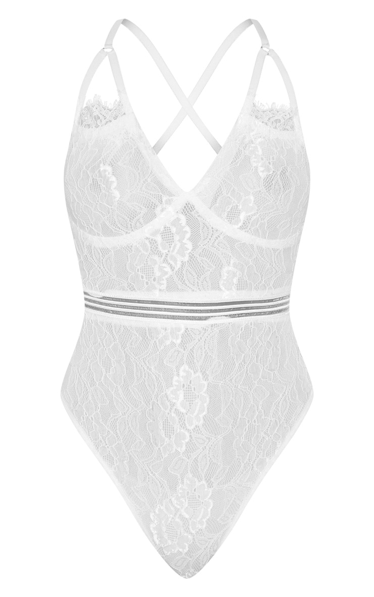 Emsie White Cut Out Detail Lace Thong Bodysuit 3