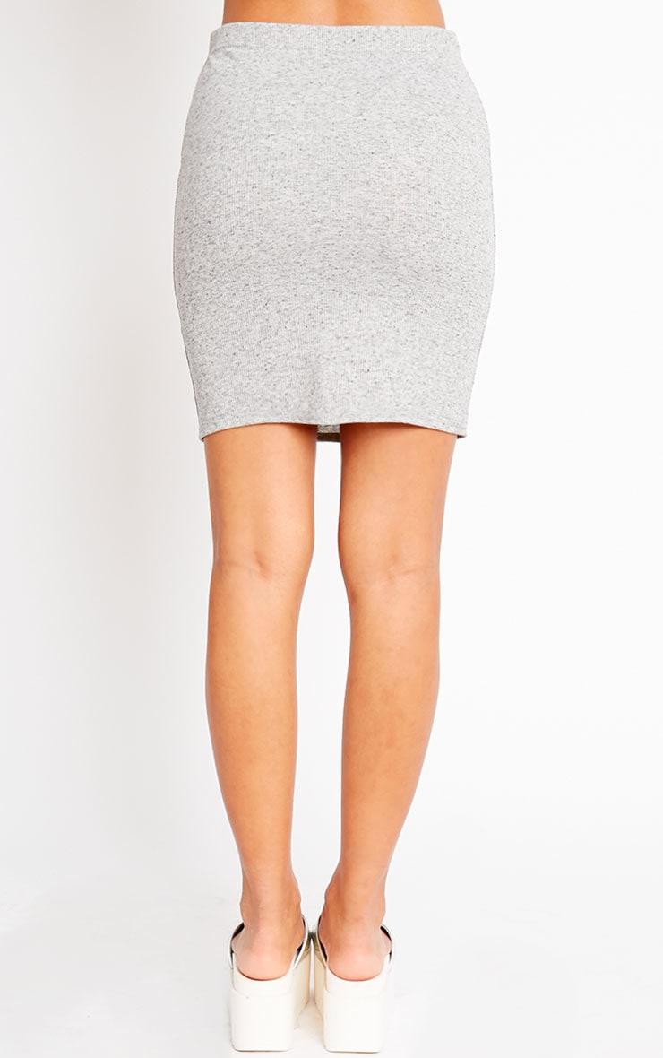 Honey Grey Ribbed Mini Skirt 4