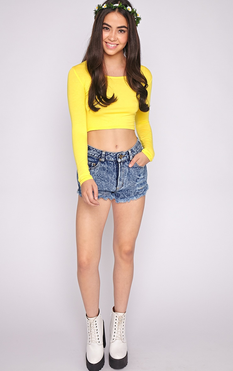 Suzy Yellow Long Sleeved Crop Top  3