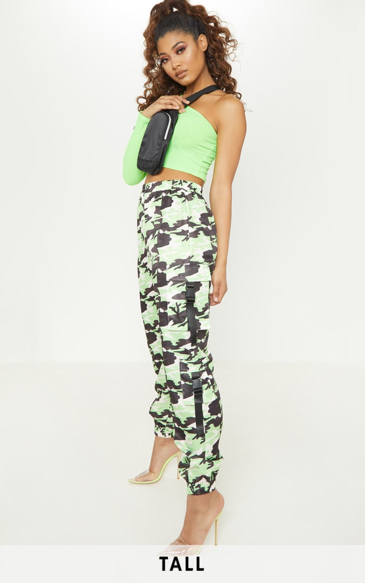 Tall Neon Lime Camo Pocket Detail Cargo Trousers 1