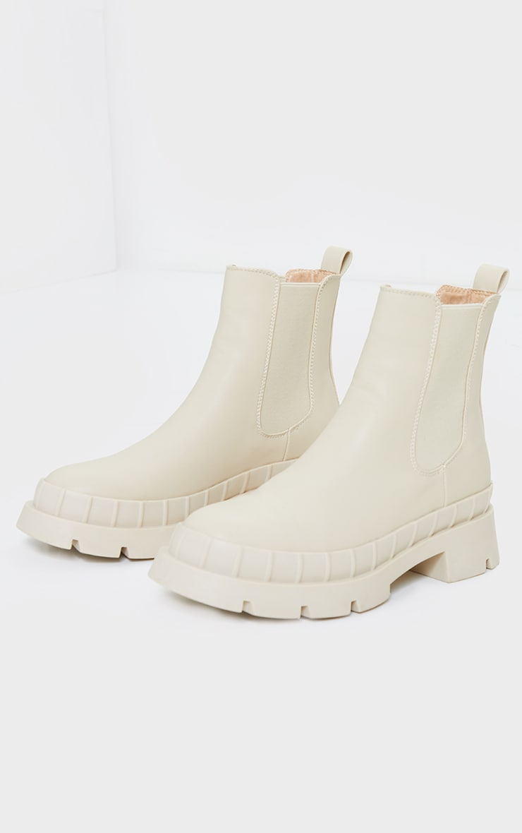 Cream Chunky Welly Style Chelsea Boots 3
