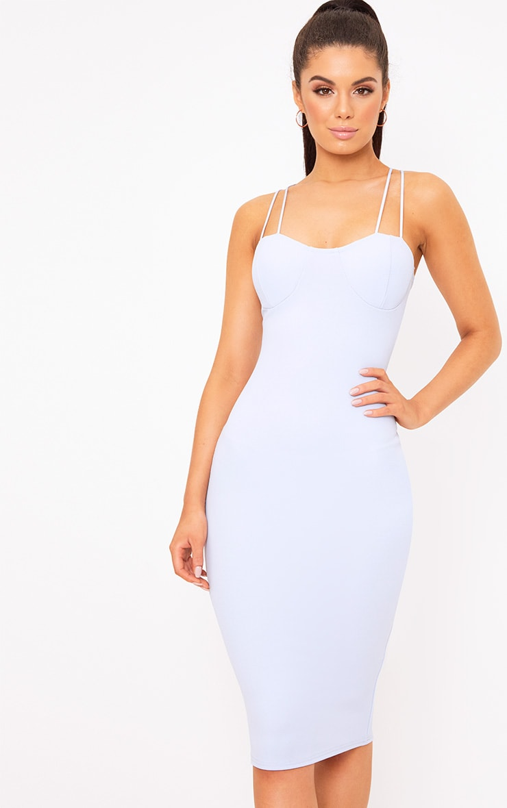 Dusty Blue Strap Detail Bust Cup Midi Dress 1