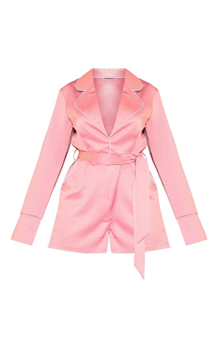 Dusty Pink Satin Binding Detail Tailored Romper 3