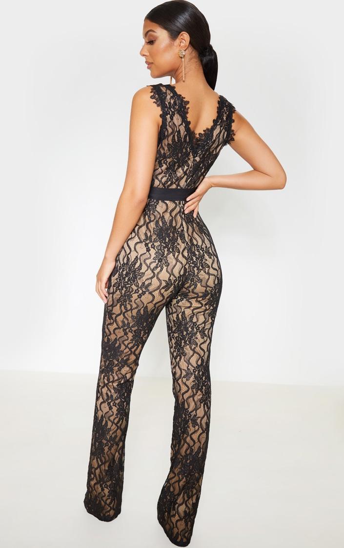 Black Lace Contrast Plunge Jumpsuit 2