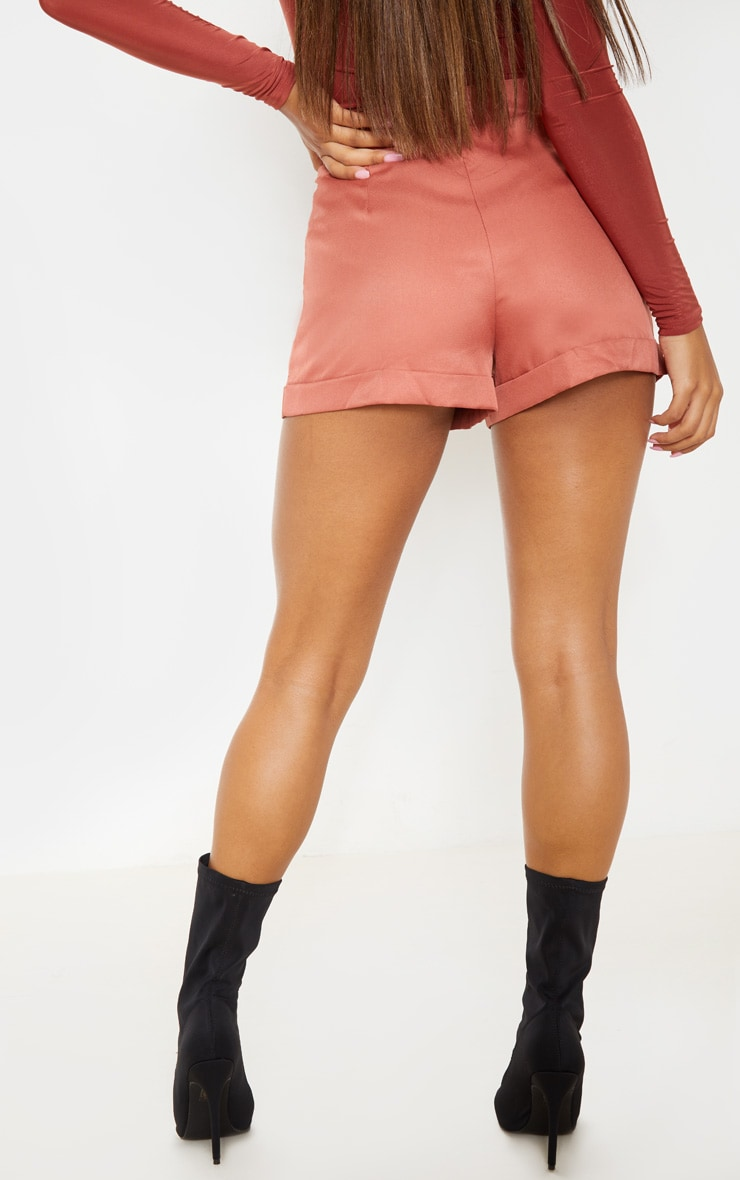 Dusty Rose Woven Belted Turn Up Hem Short  4