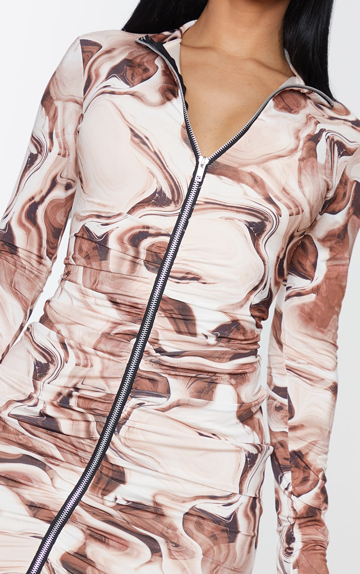 Shape Brown Marble Print Zip Front Collar Detail Bodycon Dress 5